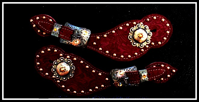 Burgundy Etched Leather Spur Straps By Lantern Lane