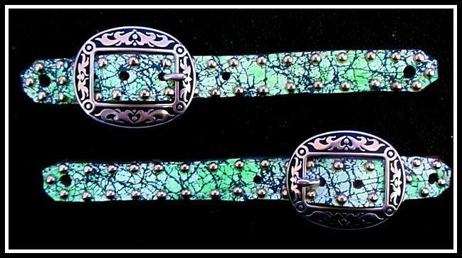 Green And Black Acid Wash Belt Style Spur Straps