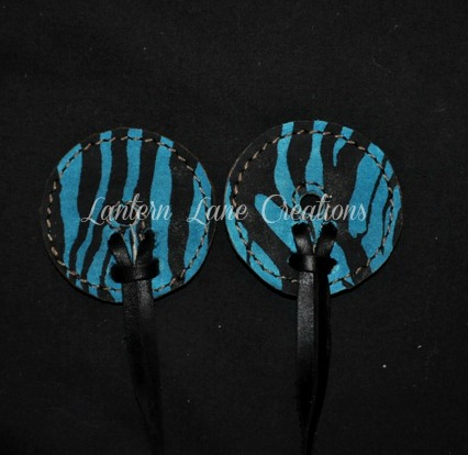 Turquoise Zebra Bit Guards By Lantern Lane Creations