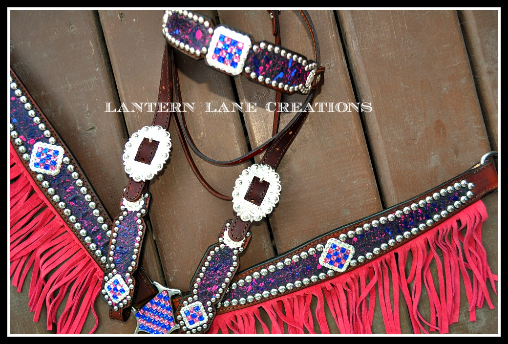Black Croc Tack Set With Pink And Blue Fringe By Lantern Lane