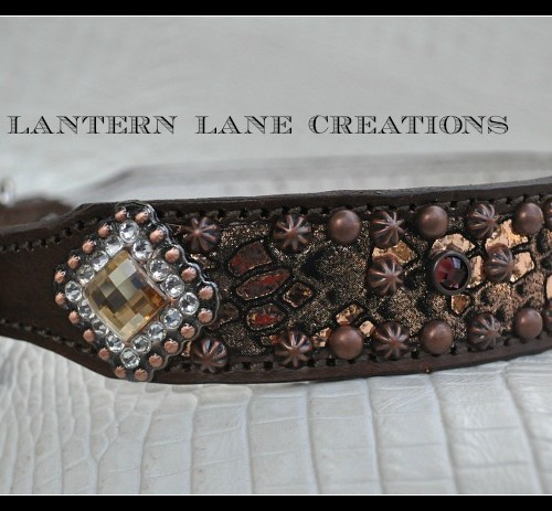Metallic Copper And Bronze Python Dog Collar By Lantern Lane